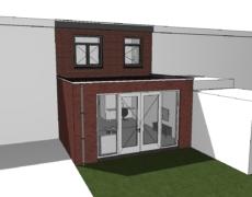Aanbouw achter woning, te Breda
