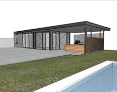 Overkapping tuinhuis Prinsenbeek